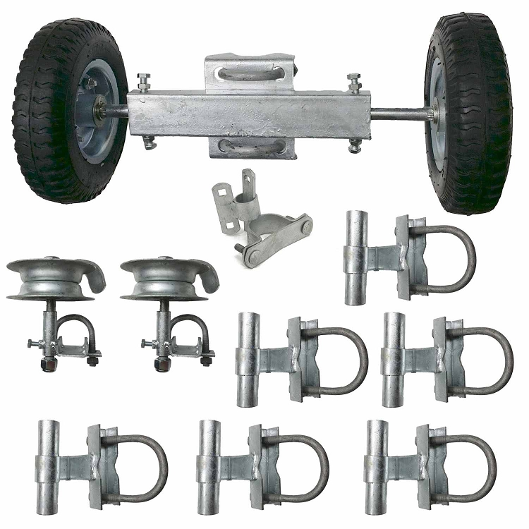 Chain Link Rolling Gate Kit Track Brackets Guides Rollers