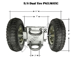 Dual Pneumatic Tire 9/8 Rolling Gate Carrier Wheels Rut Runner