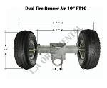 Dual Pneumatic Tire PT10 Rolling Gate Carrier Wheels Rut Runner