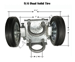 Dual Solid Tire 9/6 Rolling Gate Carrier Wheels Chain Link Fence Rut Runner