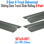 V- Track Galvanized 5 ft Sections Sliding Gate Track Set of 3