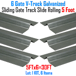 V- Track Galvanized 5 ft Sections Sliding Gate Track Set of 6