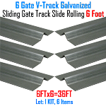 V- Track Galvanized 6ft Sections Sliding Gate Track Set of 6