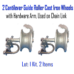 Cantilever Guide Roller Cast Iron Wheels with Hardware Arm, Used on Chain Link Set of 2