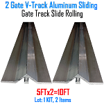 V- Track Aluminum 5ft Sections Sliding Gate Track Set of 2