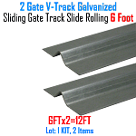 V- Track Galvanized 6ft Sections Sliding Gate Track Set of 2
