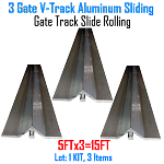 V- Track Aluminum 5ft Sections Sliding Gate Track Set of 3