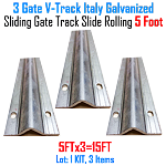 Sliding Gate Track Galvanized Italy Inverted V Track 5 ft Section Set of 3