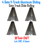 V- Track Aluminum 6ft Sections Sliding Gate Track Set of 4