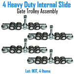 Heavy Duty 8 wheels Internal Slide Gate Truck Assembly Set of 4