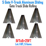 V- Track Aluminum 5ft Sections Sliding Gate Track Set of 5