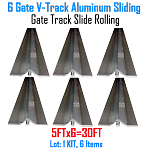 V- Track Aluminum 5ft Sections Sliding Gate Track Set of 6