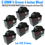 Hard Plastic (UHMW) V-Groove Wheel. with cover box Set of 6