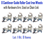 Cantilever Guide Roller Cast Iron Wheels with Hardware Arm, Used on Chain Link Set of 8