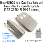 Linear 109950 MultiCode Gate Radio Multicode Compatible 10DIPSWITCH 300MHZ Kit