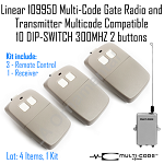 Linear 109950 MultiCode Gate Radio 3 Multicode Compatible 10DIPSWITCH 300MHZ Kit