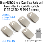 Linear 109950 MultiCode Gate Radio 5 Multicode Compatible 10DIPSWITCH 300MHZ Kit