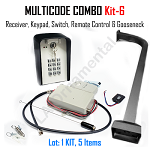 MULTICODE Kit-6 109950 Receiver 308911 Transmitter, Keypad, Switch, & Gooseneck