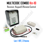 MULTICODE Kit-10: 109950 receiver Remote Compatible 2 Button 951M Keypad