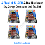 Lock SL 300 Shurlok Key Storage Padlock 4 Dial Numbered Combination Red, Lot 4