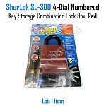Lock ShurLok SL 300 Padlock Key 4 Dial Numbered Key Storage Combination Red