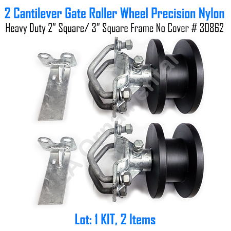 "Cantilever Gate Roller Wheel Precision Nylon Heavy Duty 2"" Square - 3"" Round No Cover Set of 2"