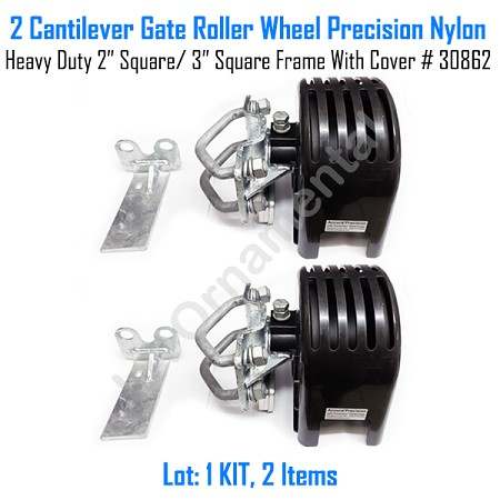 "Cantilever Gate Roller Wheel Precision Nylon Heavy Duty 2"" Square - 3"" Round With Cover Set of 2"