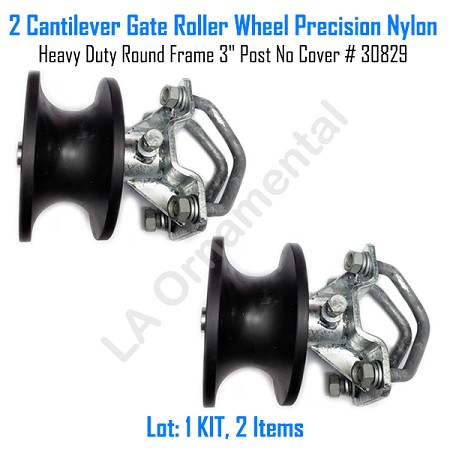 "Cantilever Gate Roller Wheel Precision Nylon Heavy Duty 3"" Post No Cover Set of 2"