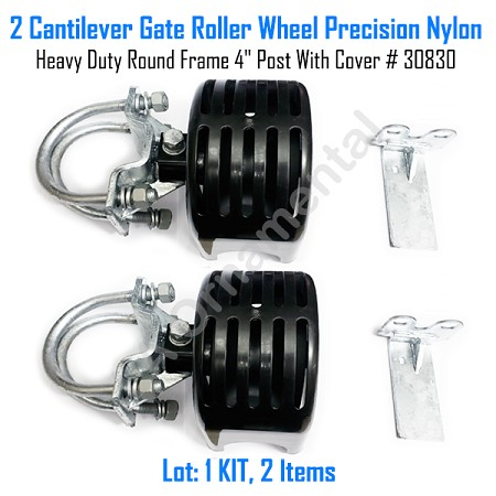 "Cantilever Rolling Gate Wheels Sliding Cantilever Gate Roller 4"" Post With Cover Set of 2"