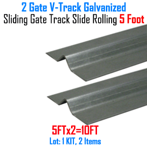 V- Track Galvanized 5 ft Sections Sliding Gate Track Set of 2