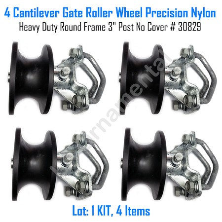 "Cantilever Gate Roller Wheel Precision Nylon Heavy Duty 3"" Post No Cover Set of 4"