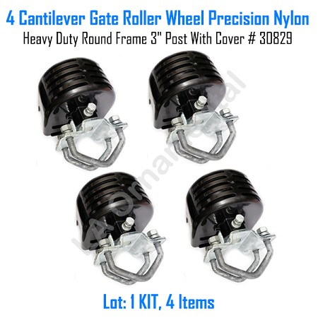 "Cantilever Gate Roller Wheel Precision Nylon Heavy Duty 3"" Post With Cover Set of 4"
