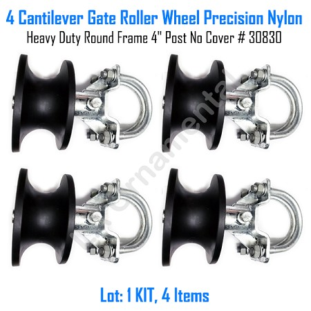 "Cantilever Rolling Gate Wheels Sliding Cantilever Gate Roller 4"" Post No Cover Set of 4"
