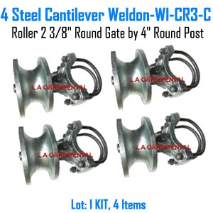 "Steel Cantilever Gate Roller 2 3/8"" Round Gate by 4"" Round Post  Set of 4"