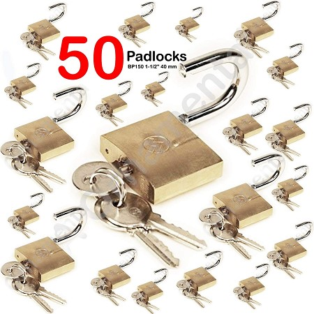 "50 Padlock Steel Mountain Series BP150 1-1/2"" 40 mm Wide Keyed Different Solid Brass Pin Tumbler Padlocks, 50 Items"