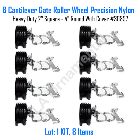 "Cantilever Gate Roller Wheel Precision Nylon Heavy Duty 2"" Square - 4"" Round With Cover Set of 8"