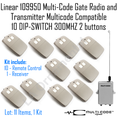 Linear 109950 MultiCode Gate Radio 10Multicode Compatible 10DIPSWITCH 300MHZ Kit